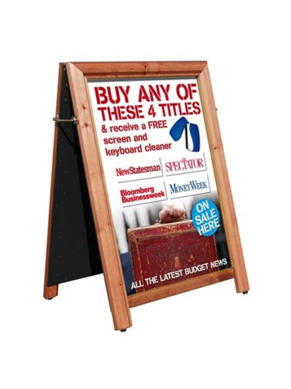 A1 Wooden Poster Holder A Board & Chalk Board