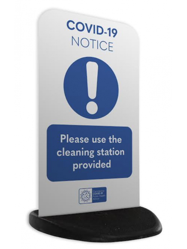 Covid -19 EcoFlex2 cleaning station printed sign