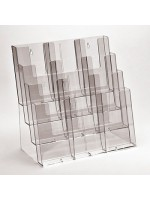 Clear Leaflet Dispensers 4 x compartment A4 landscape stacked