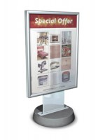 Defender 30ins x 40ins poster holding forecourt sign with a Concrete base